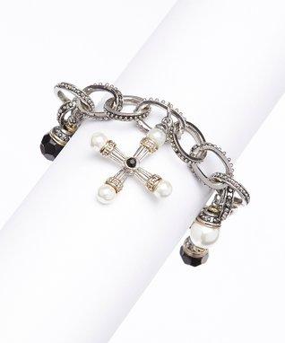 Onyx & Pearl Charm Bracelet