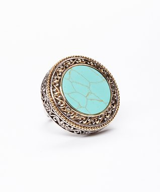 Turquoise Openwork Disc Ring