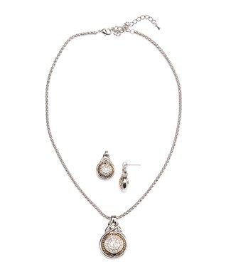 Cubic Zirconia & Gold Quatrefoil Drop Earrings