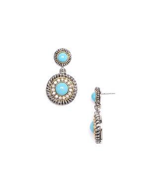 Turquoise & Cubic Zirconia & Silver Drop Earrings