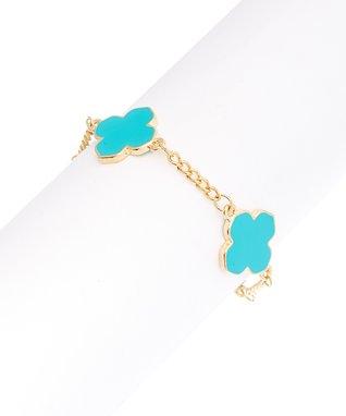 Gold & Turquoise Clover Bracelet