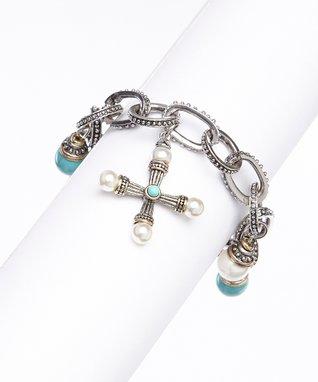 Turquoise & Pearl Charm Bracelet