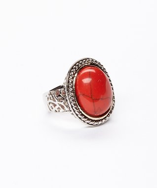 Coral Oval Twist Ring