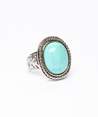 Turquoise Oval Twist Ring