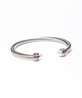 Pearl & Silver Twist Dome Cuff