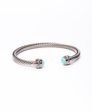 Turquoise & Silver Twist Dome Cuff