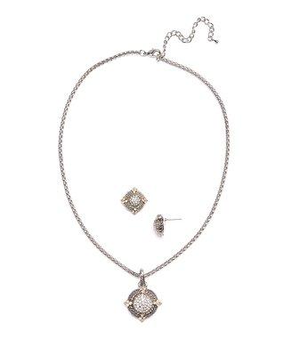 White Shell & Cubic Zirconia & Silver Drop Earrings
