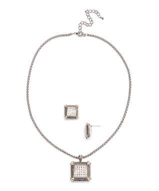 Silver & Onyx Quatrefoil Drop Earrings