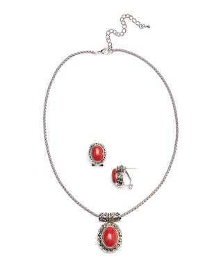 Coral Oval Stud Earrings & Pendant Necklace