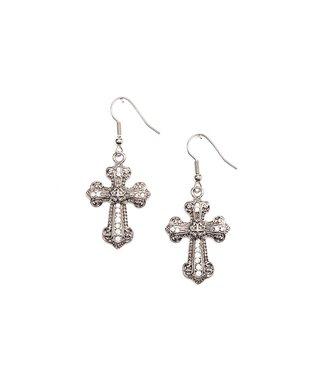 Cubic Zirconia Cross Drop Earrings