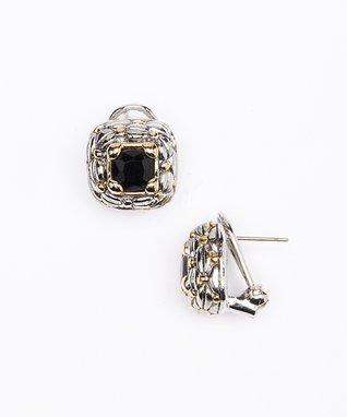 Black Square Stud Earrings