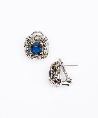 Aquamarine Square Stud Earrings