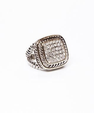 Cubic Zirconia & Silver Pavé Square Ring