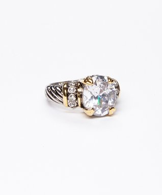 Cubic Zirconia & Silver Round Ring