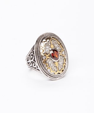 Garnet Cutout Filigree Ring