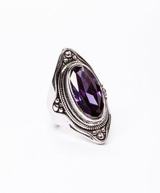 Amethyst & Silver Oval Ring