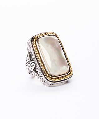 White Mother-of-Pearl Rectangle Ring