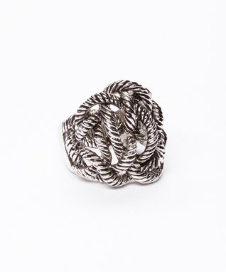 Silver Rope Cluster Ring