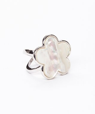 Green Mother-of-Pearl Floral Ring