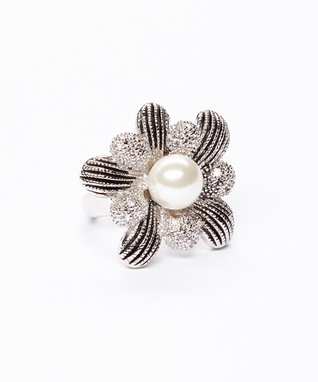 Pearl & Cubic Zirconia Bauble Floral Ring