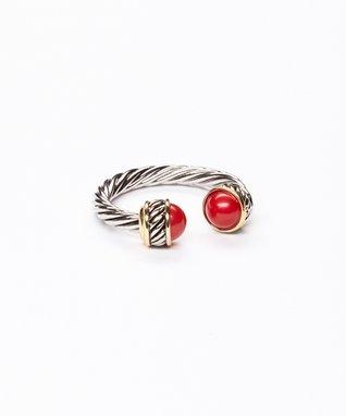 Garnet Twist Cuff Ring
