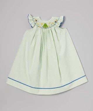 Vive La Fête Green Shamrock Smocked Bubble Bodysuit - Infant
