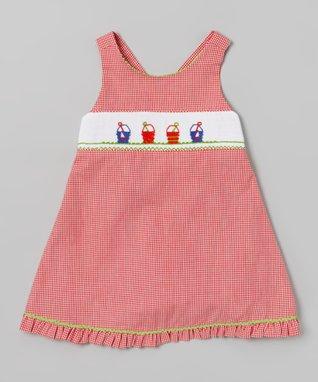 Vive La Fête Green Undersea Smocked Cross Back Dress - Infant, Toddler & Girls