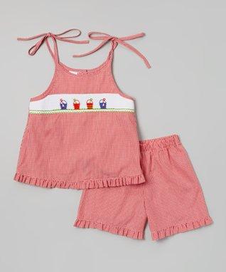 Vive La Fête White Geometric Smocked Shortalls - Infant & Toddler