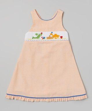 Vive La Fête Red Smocked Sand Pail Cross Back Dress - Infant & Toddler