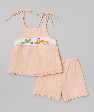 Vive La Fête Red Smocked Sand Pail Tie Top & Shorts - Infant, Toddler & Girls