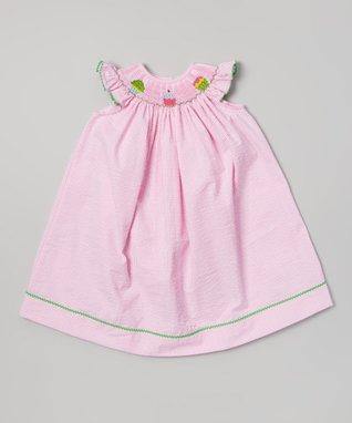 Vive La Fête Pink Smocked Floral Bishop Dress - Infant, Toddler & Girls