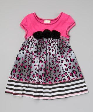 Rosebud Stripe Embellished Dress - Girls