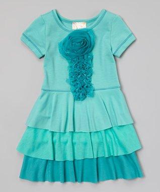 Aqua Tiered A-Line Dress - Toddler & Girls
