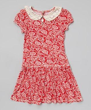 Red Damask Smocked Dress - Toddler