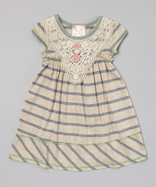 Gray Lace Babydoll Dress - Toddler