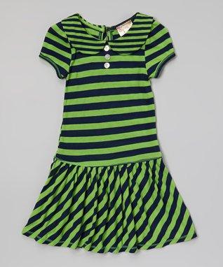Lime & Navy Stripe Dress - Toddler & Girls