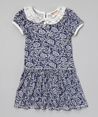 Charcoal & White Stripe Rosette Dress - Girls