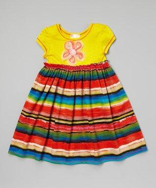 Yellow & Red Stripe Babydoll Dress - Toddler & Girls