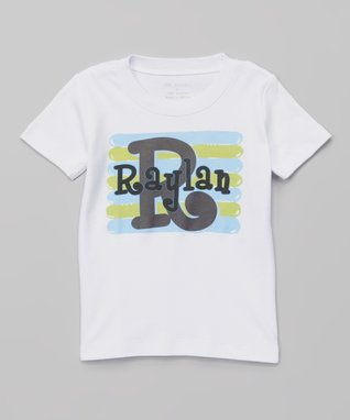 White & Blue Personalized Tee - Infant, Toddler & Boys