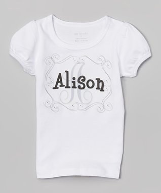 Black Swirly Frame Personalized Tee - Infant, Toddler & Girls