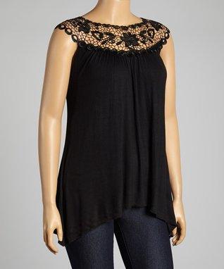 Black Floral Lace Yoke Top - Plus
