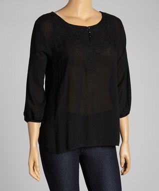 Black Embellished Sleeveless Button-Up - Plus