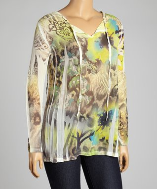 Ivory Floral Lace Ruched Three-Quarter Sleeve Top - Plus