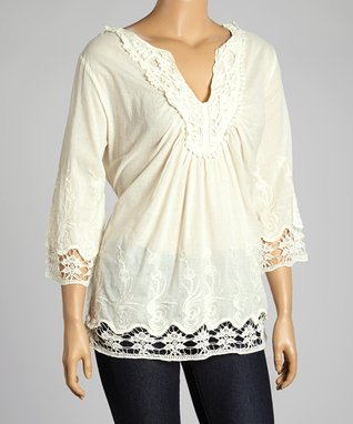 Ivory Embroidered Notch Neck Top - Plus