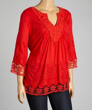 Red Embroidered Notch Neck Top - Plus