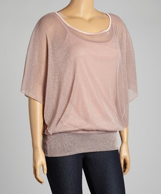 Pink Shimmer Cape-Sleeve Top - Plus