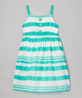 Apollo Mint Stripe Button Dress - Girls