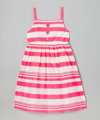 Apollo Coral Stripe Button Dress - Girls