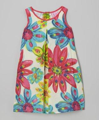Apollo Blue & Yellow Jelly Bean Frill Dress - Girls