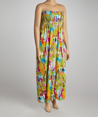 Yellow & Green City Life Maxi Dress - Plus